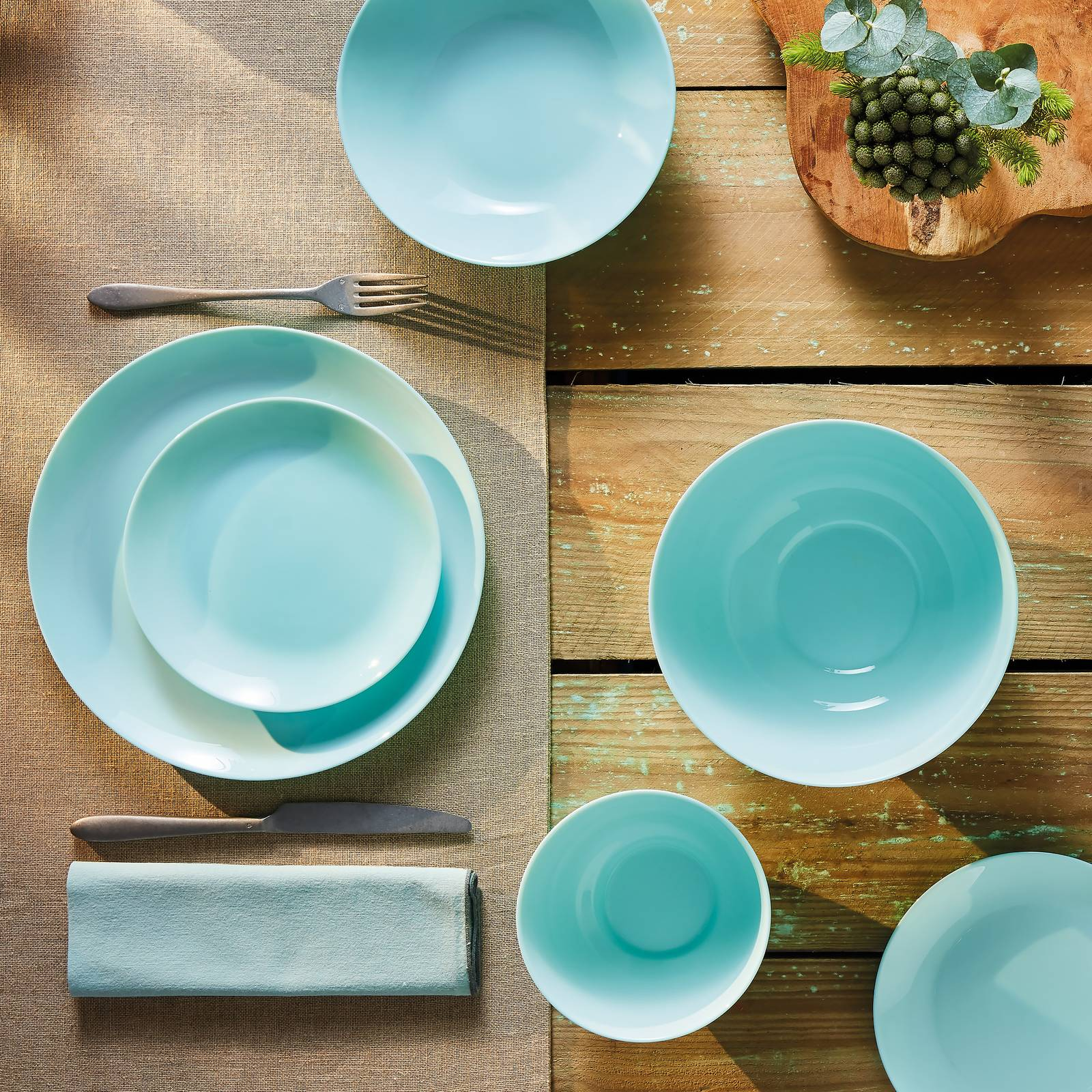 Komplet obiadowy Diwali Light Turquoise 19-elementowy LUMINARC