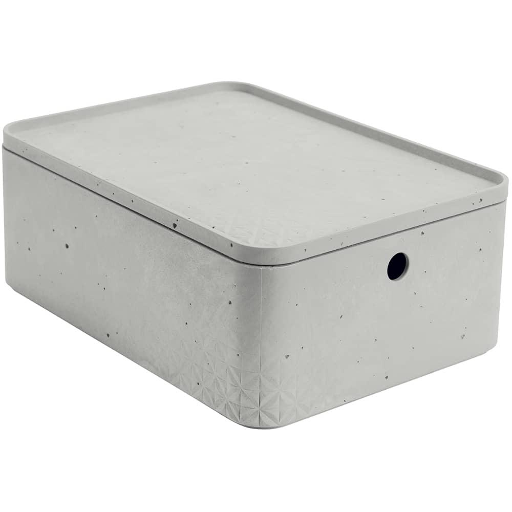 Förvåringslåda med lock 8 L Betong grå CURVER