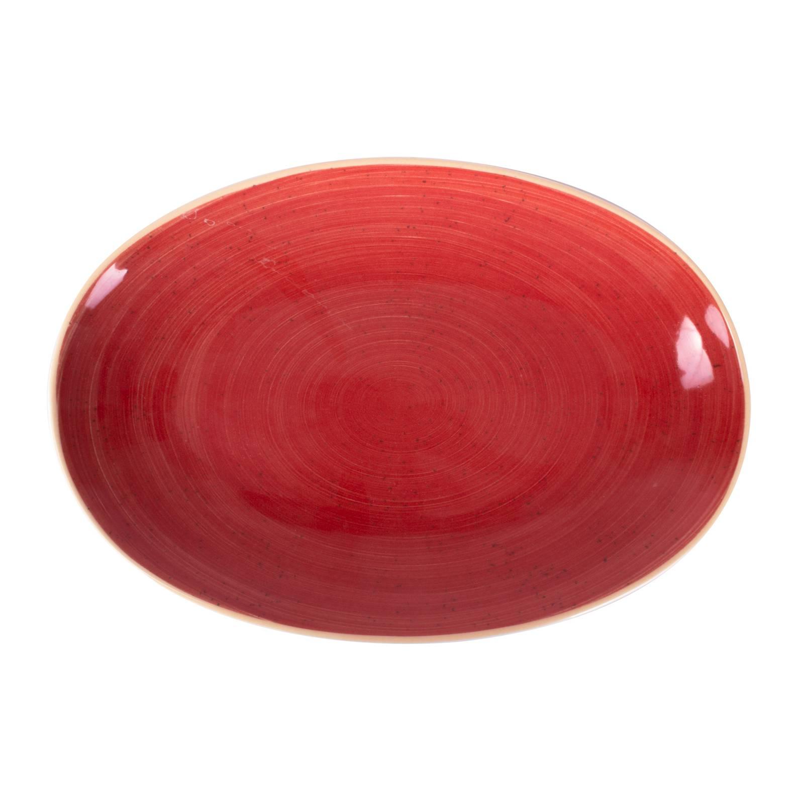 Porcelánová oválná servírovací mísa Terra Red Coupe 32 cm ARIANE