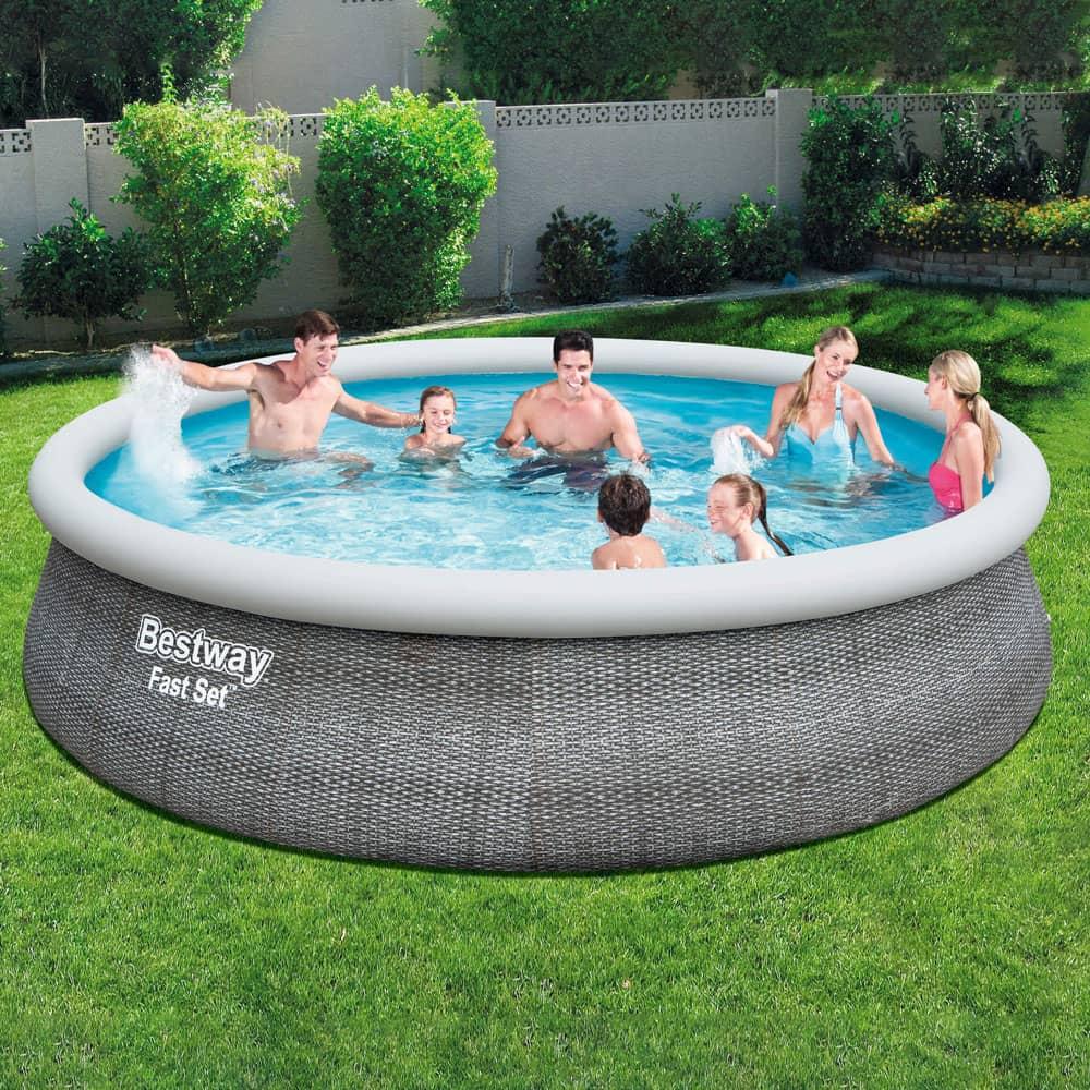 Nadzemný bazén s golierom a príslušenstvom Fast Set Gray 457 x 107 cm BESTWAY