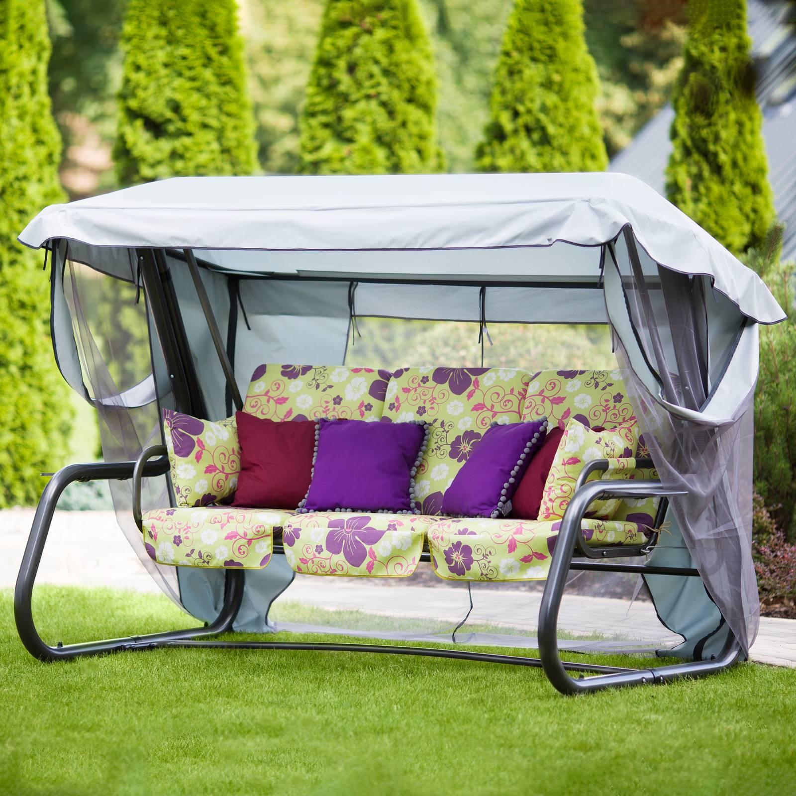 Huśtawka ogrodowa Venezia Lux z dodatkowymi poduszkami i stolikami A032-12LB  PATIO