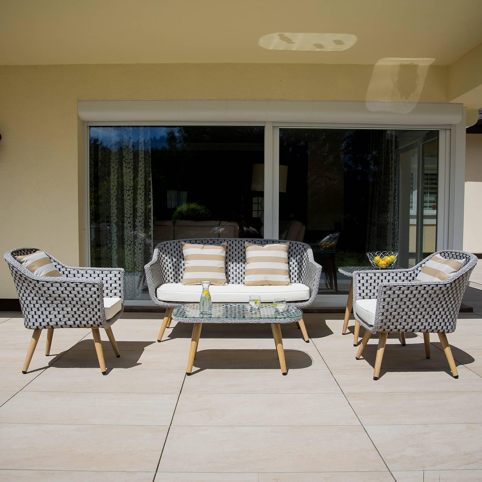 Súprava záhradného nábytku z technorattanu Mireille black & white PATIO