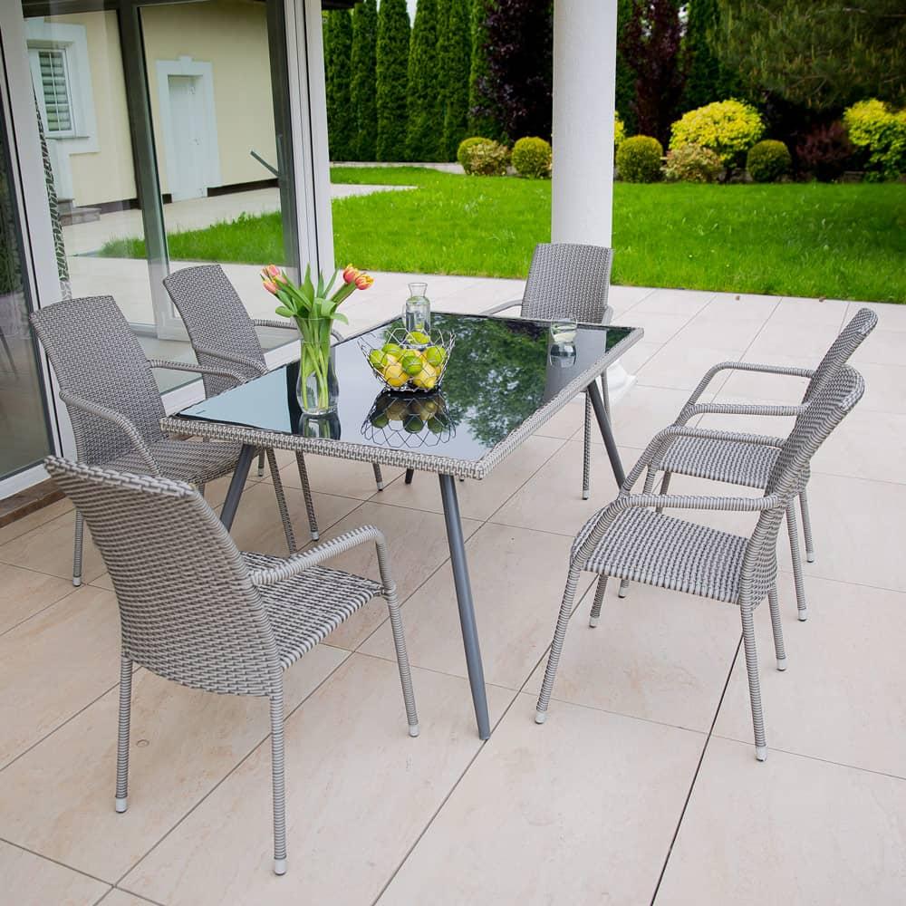 Záhradný stôl z technorattanu Lupus Grey 150 x 90 x 73 cm PATIO