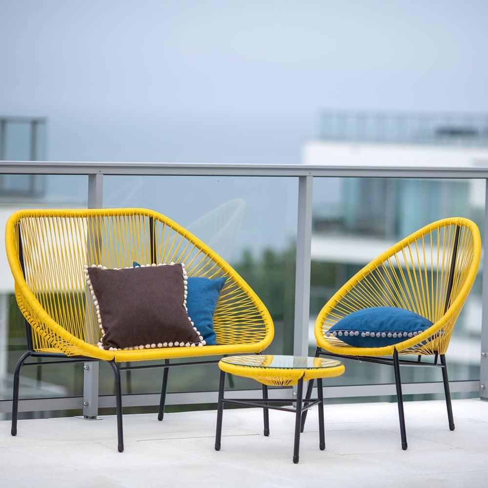 Stolik żyłkowy Arthur żółty 50 cm PATIO