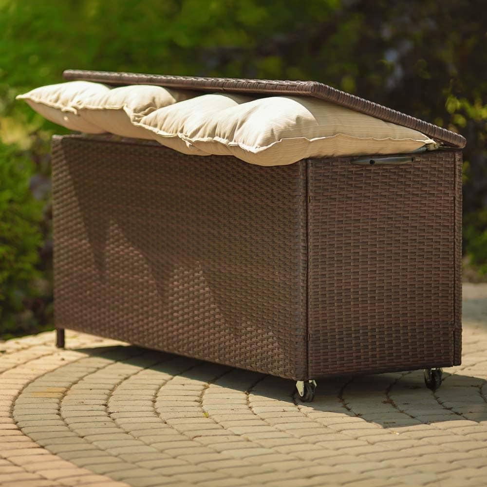 Skrzynia ogrodowa na poduszki wenge129 x 50 x 62 cm PATIO
