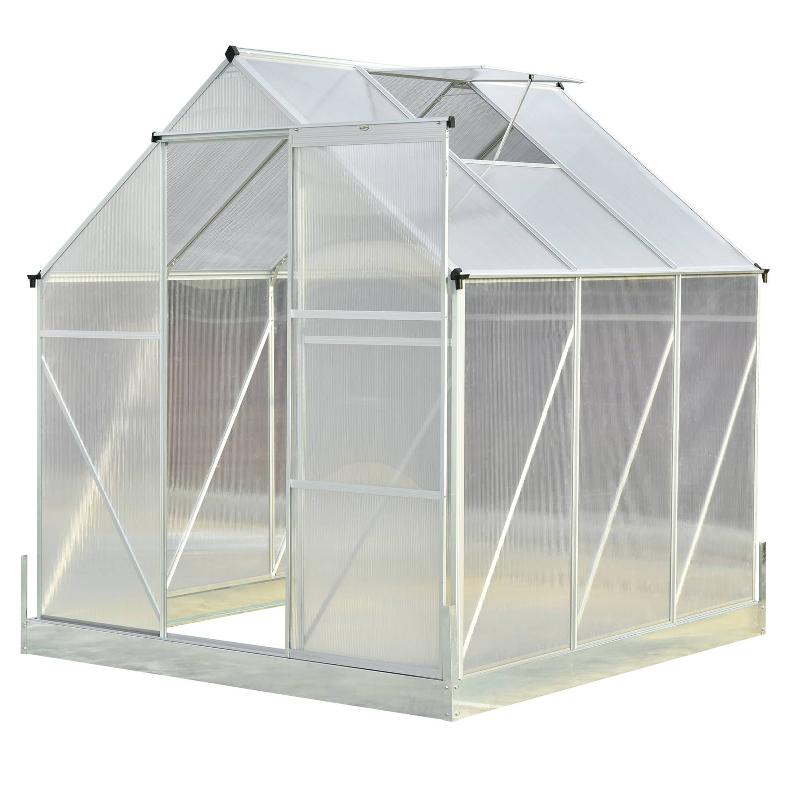 Trojdielny záhradný skleník 1,9 x 1,9 x 1,95 m PATI