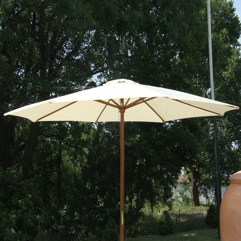 Drevený záhradný slnečník Poly Ecru 3 m PATIO
