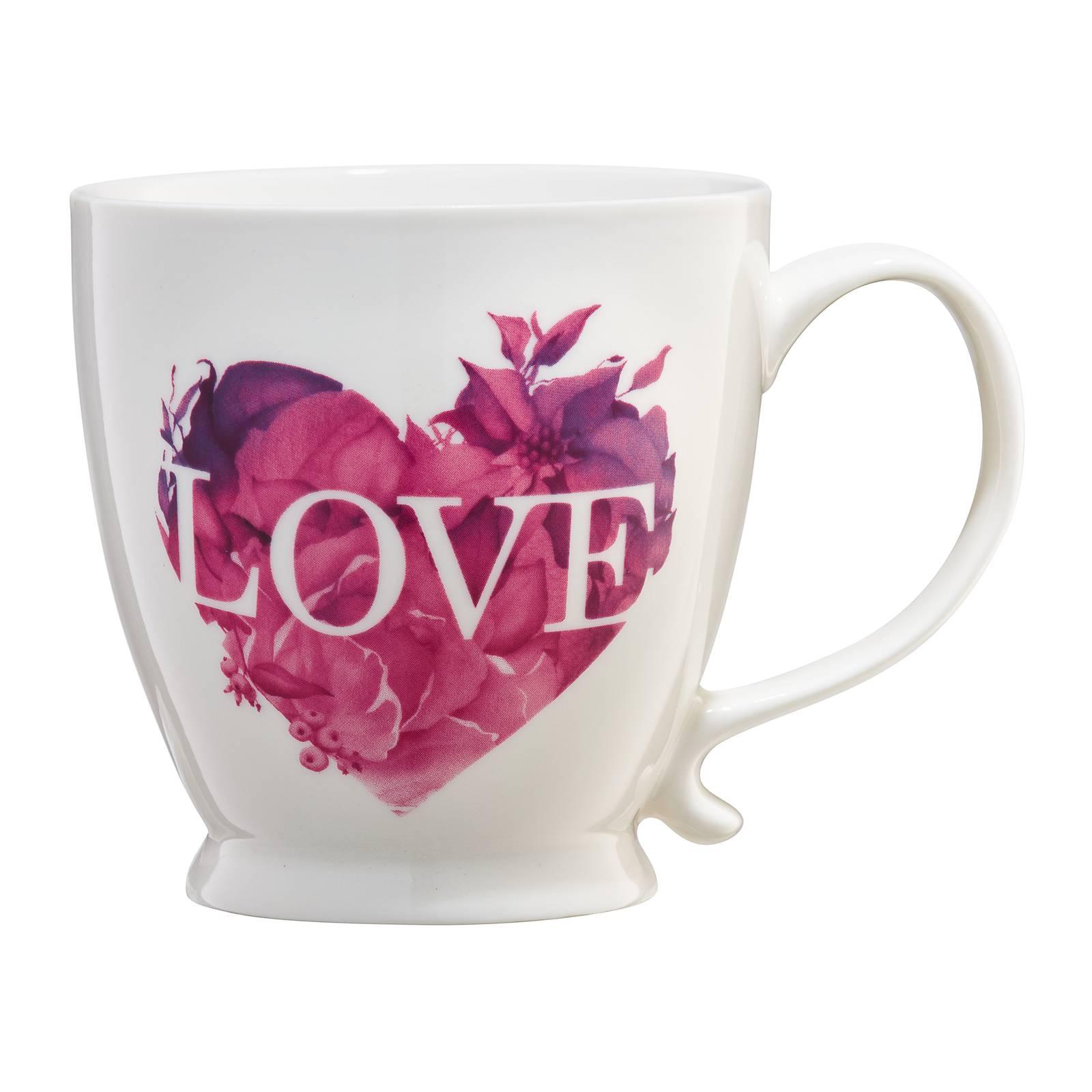 Kubek porcelanowy Love Letters różowe serce 400 ml AMBITION