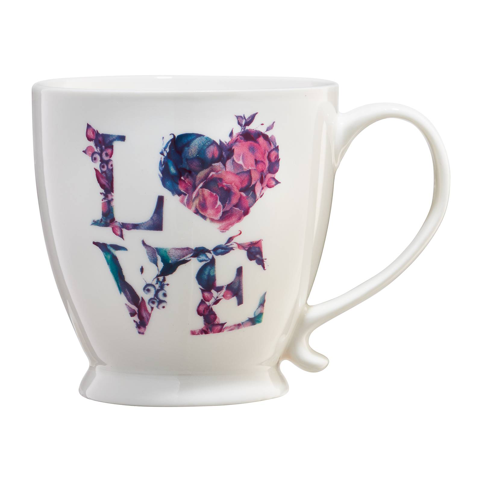 Kubek porcelanowy Love Letters kwiatowy napis 400 ml AMBITION
