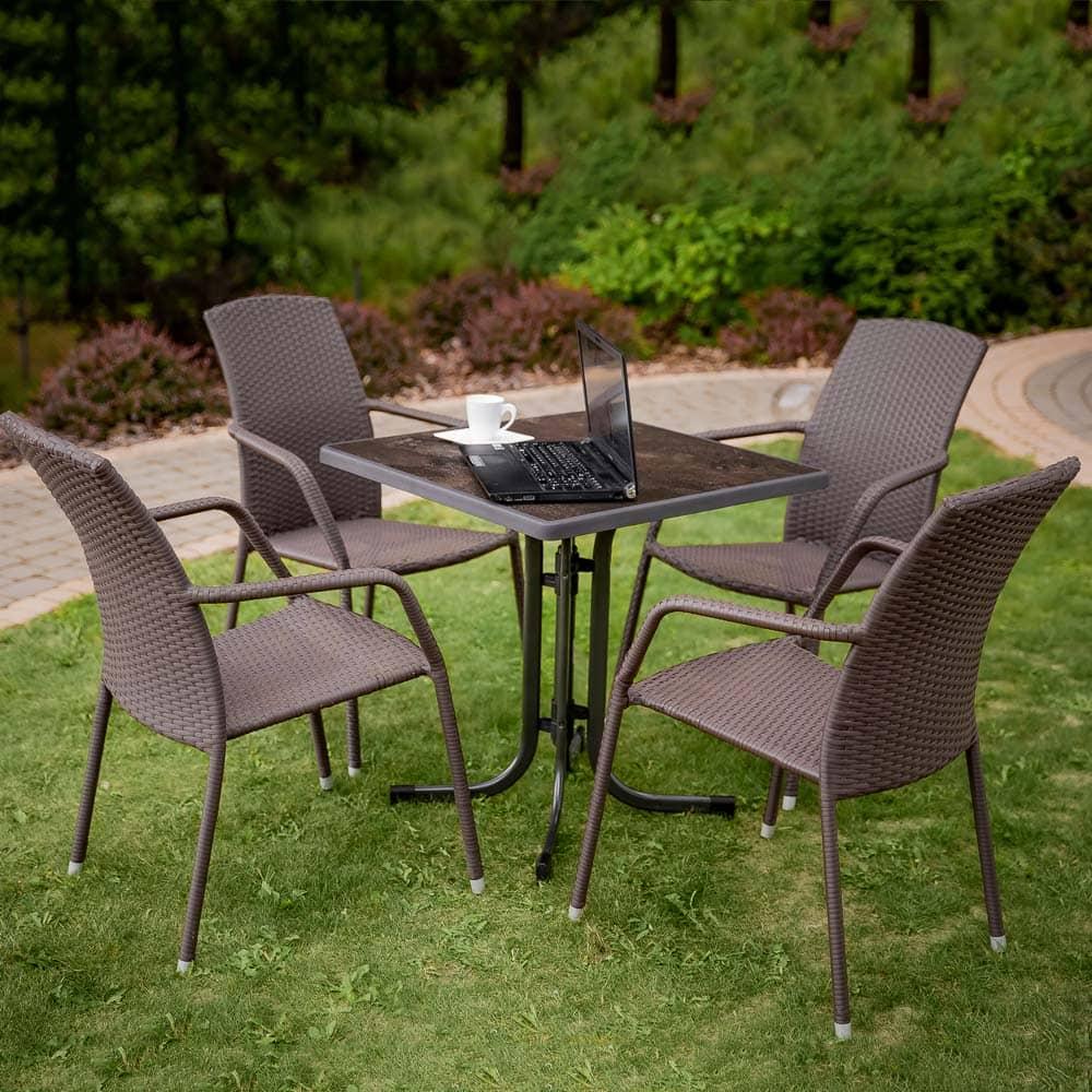 Stół Dine & Relax 70 x 70 cm ceramico / antracyt PATIO