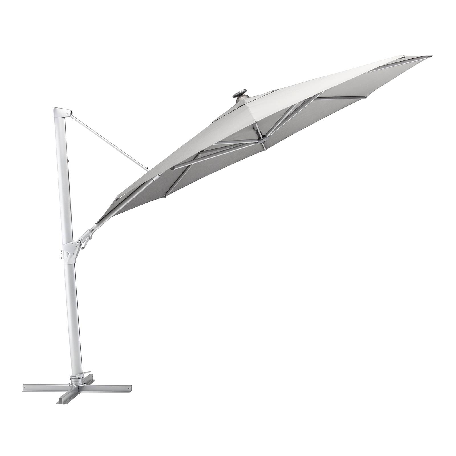 Parasol ogrodowy z oświetleneiem Easy Swing LED 3,5 m srebrny / szary KETTLER