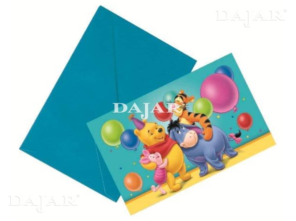 Lot de 6 cartes d'invitation avec enveloppes Winnie the Pooh DISNEY