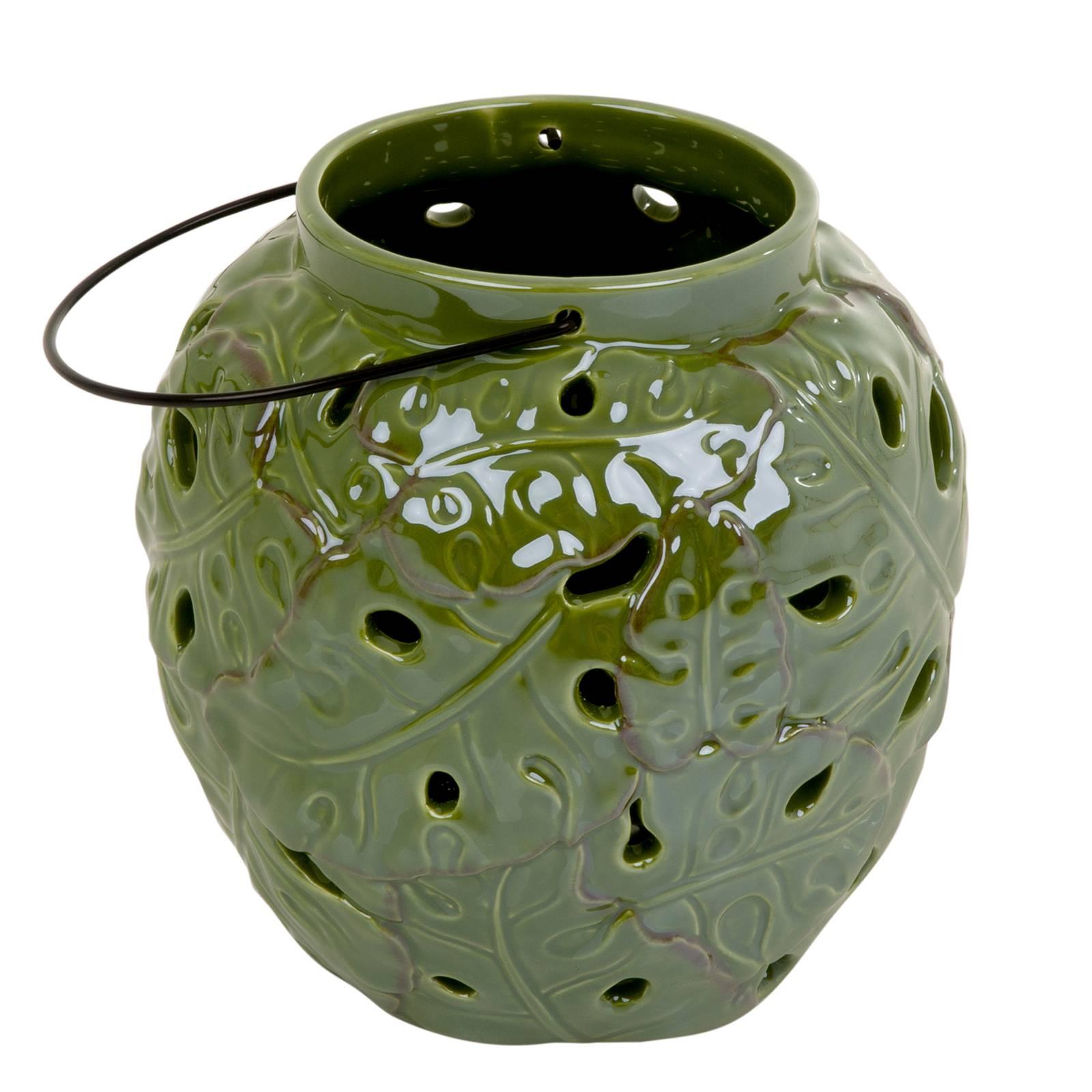 Lampion ceramiczny Tropic 18 x 18 x 18 cm zielony MY HOME