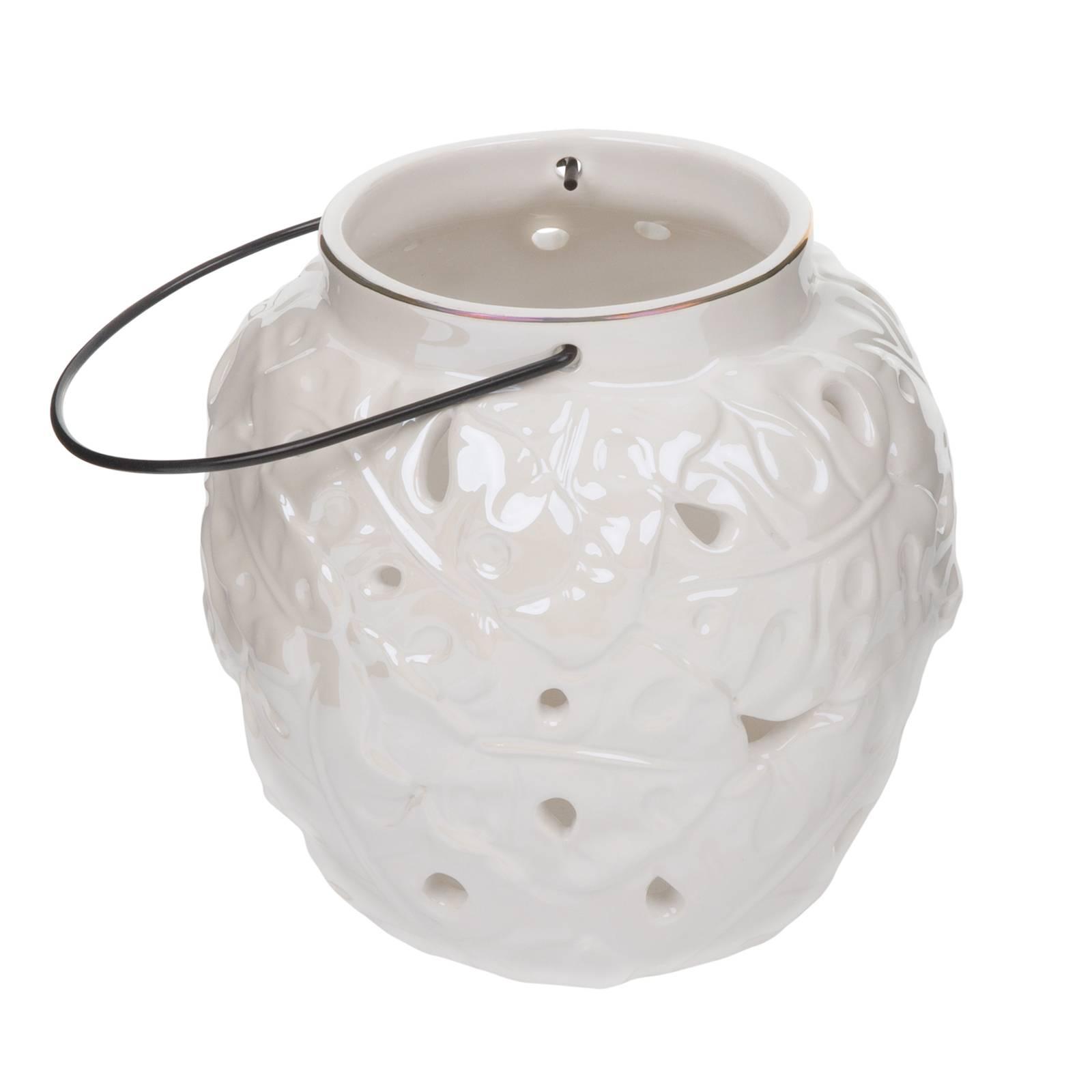 Lampion ceramiczny Tropic 15,5 x 15,5 x 15,3 cm biały MY HOME