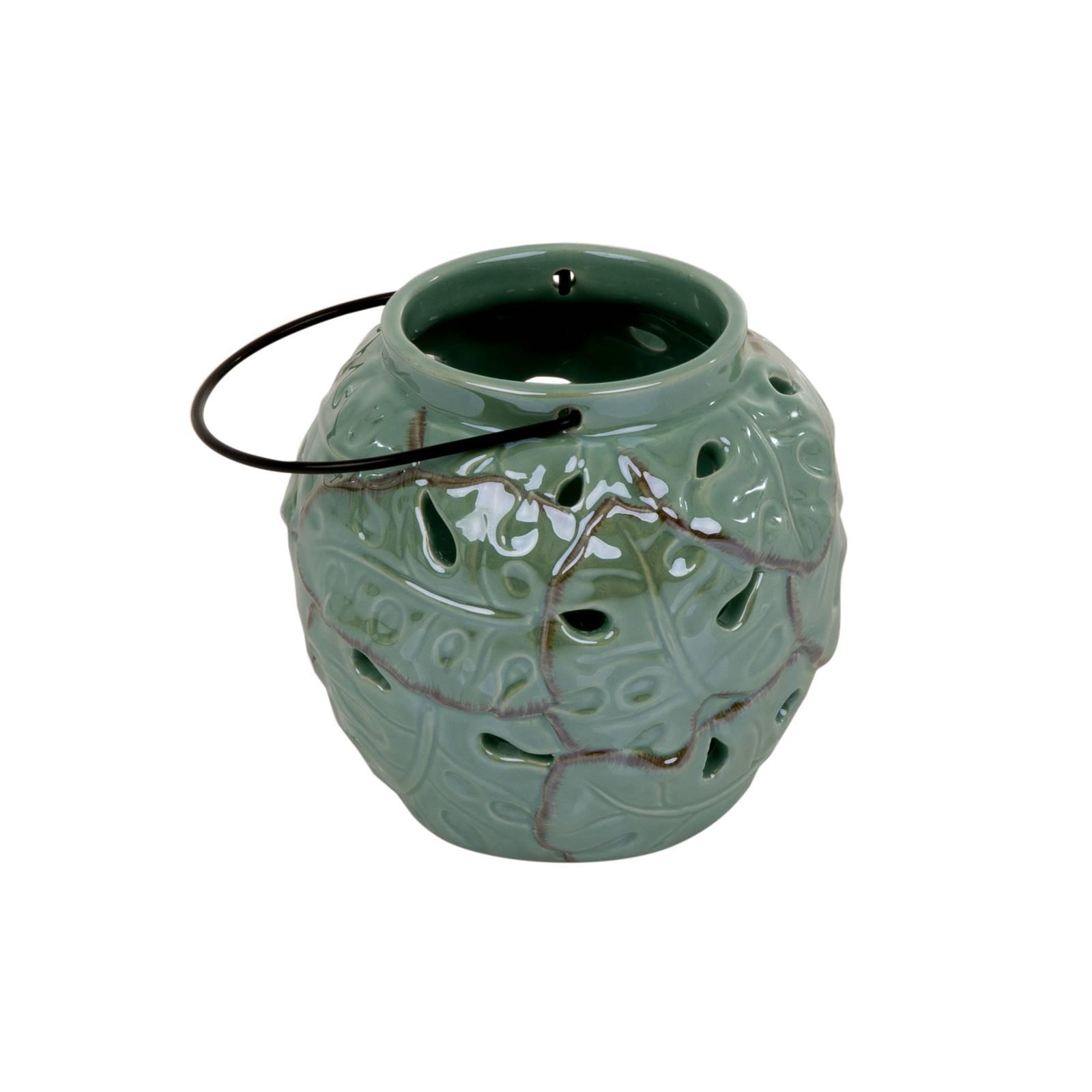 Lampion ceramiczny Tropic 13 x 13 x 12,2 cm zielony MY HOME