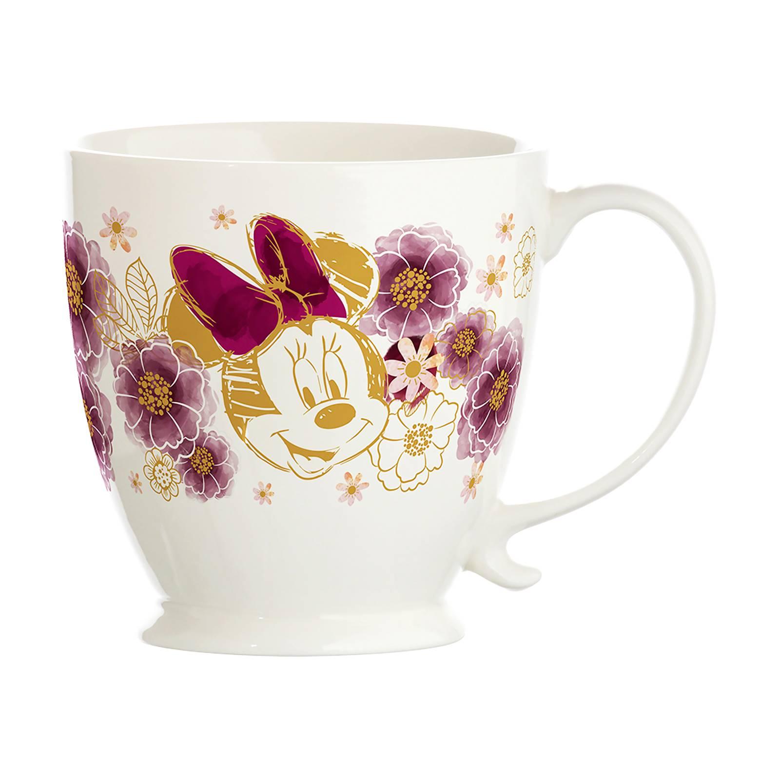 Porcelánový šálek s podšálkem Minnie Flowers Gold 450 ml DISNEY PL NÁPISY