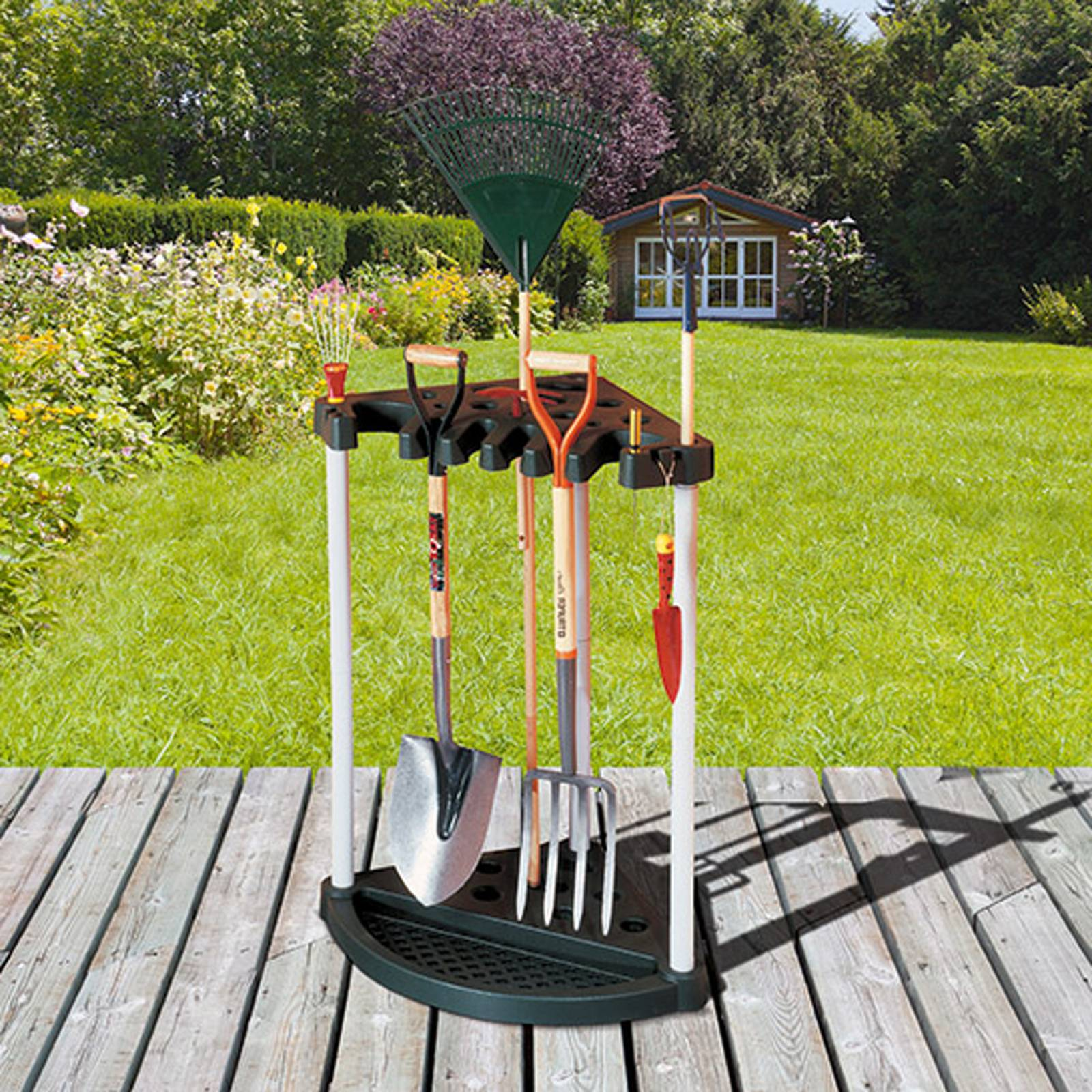 Stojak na narzędzia ogrodowe 56,5 x 88,5 cm Corner Tool Rack czarny KETER