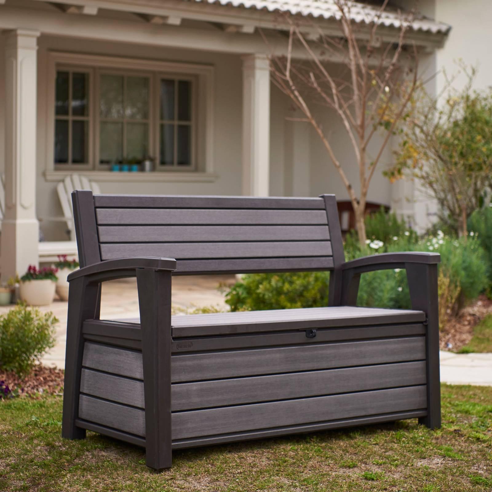 Plastová lavica s úložným boxom Hudson Brown 133 x 61 x 89 cm KETER