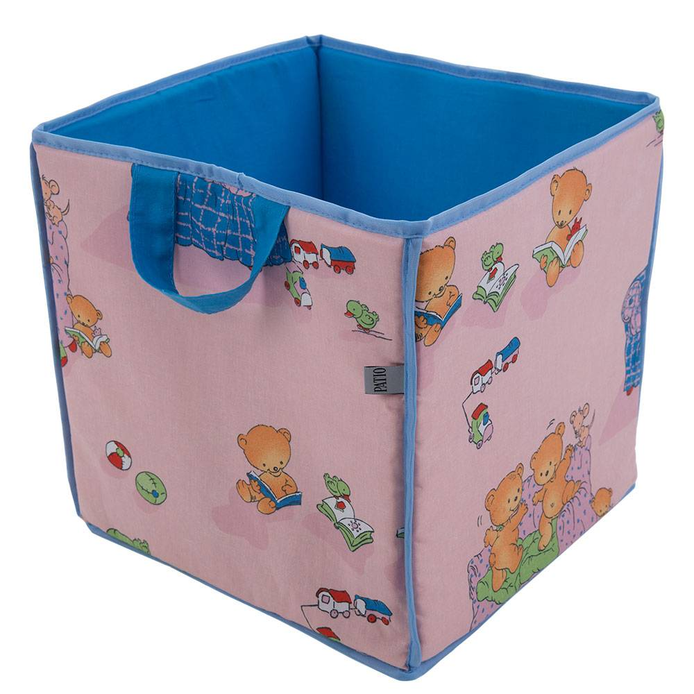 Cesta cuadrada para juguetes Ositos L069-11BW 30 x 30 x 30 cm PATIO