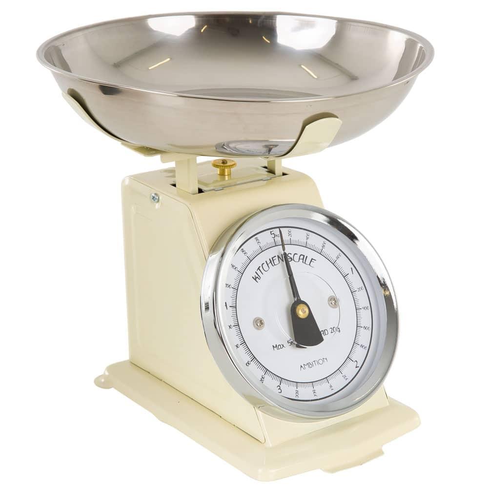Waga kuchenna kremowa z czarną wskazówką 5kg AMBITION