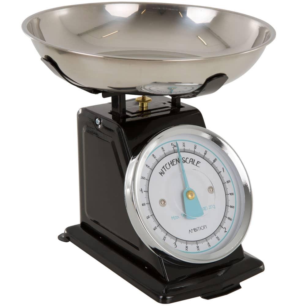 Waga kuchenna czarna z błękitną wskazówką 5kg AMBITION