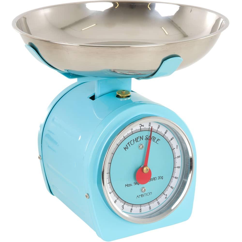 Waga kuchenna niebieska z czerwoną wskazówką 5kg AMBITION