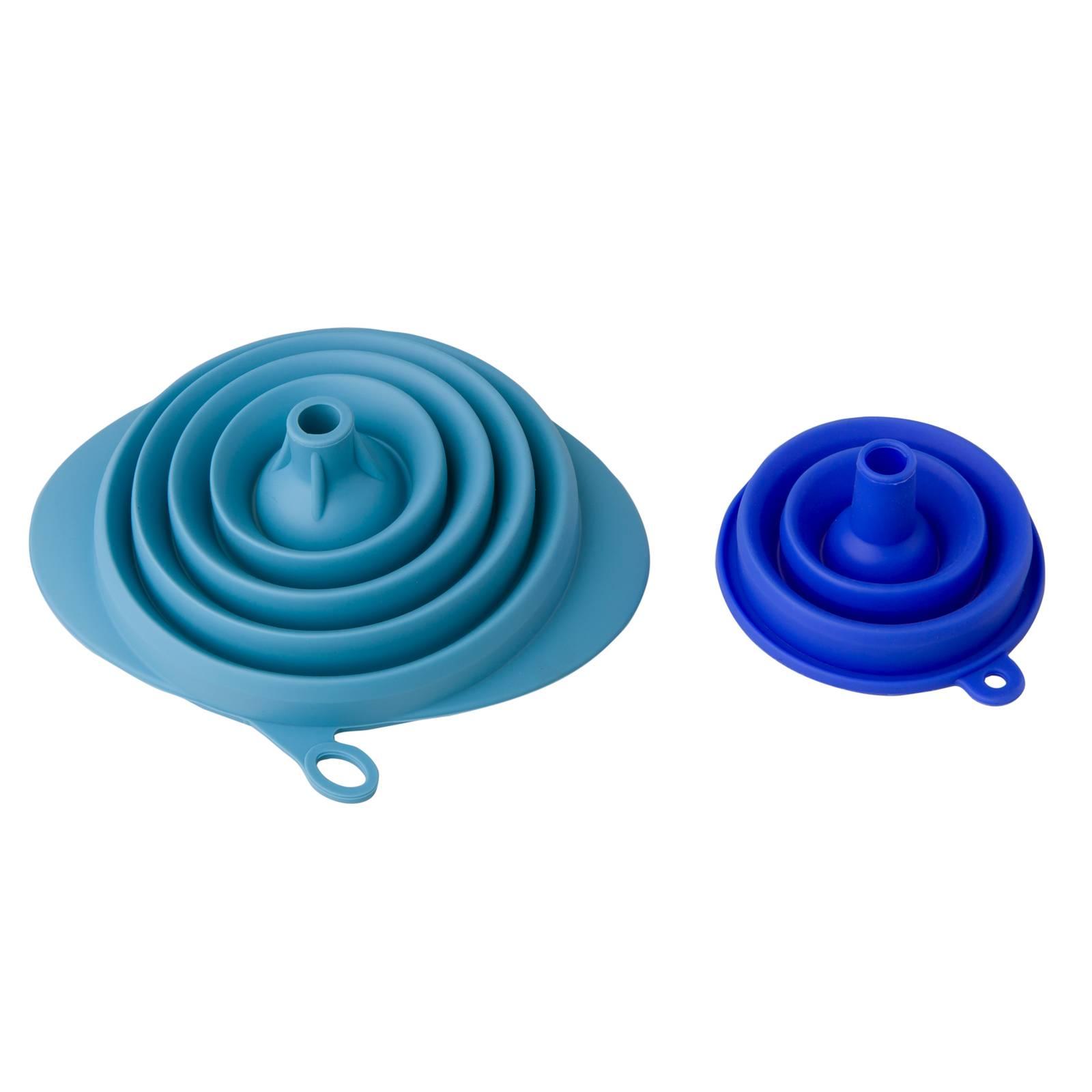 Sada 2 skladacích silikónových lievikov Blue / Violet