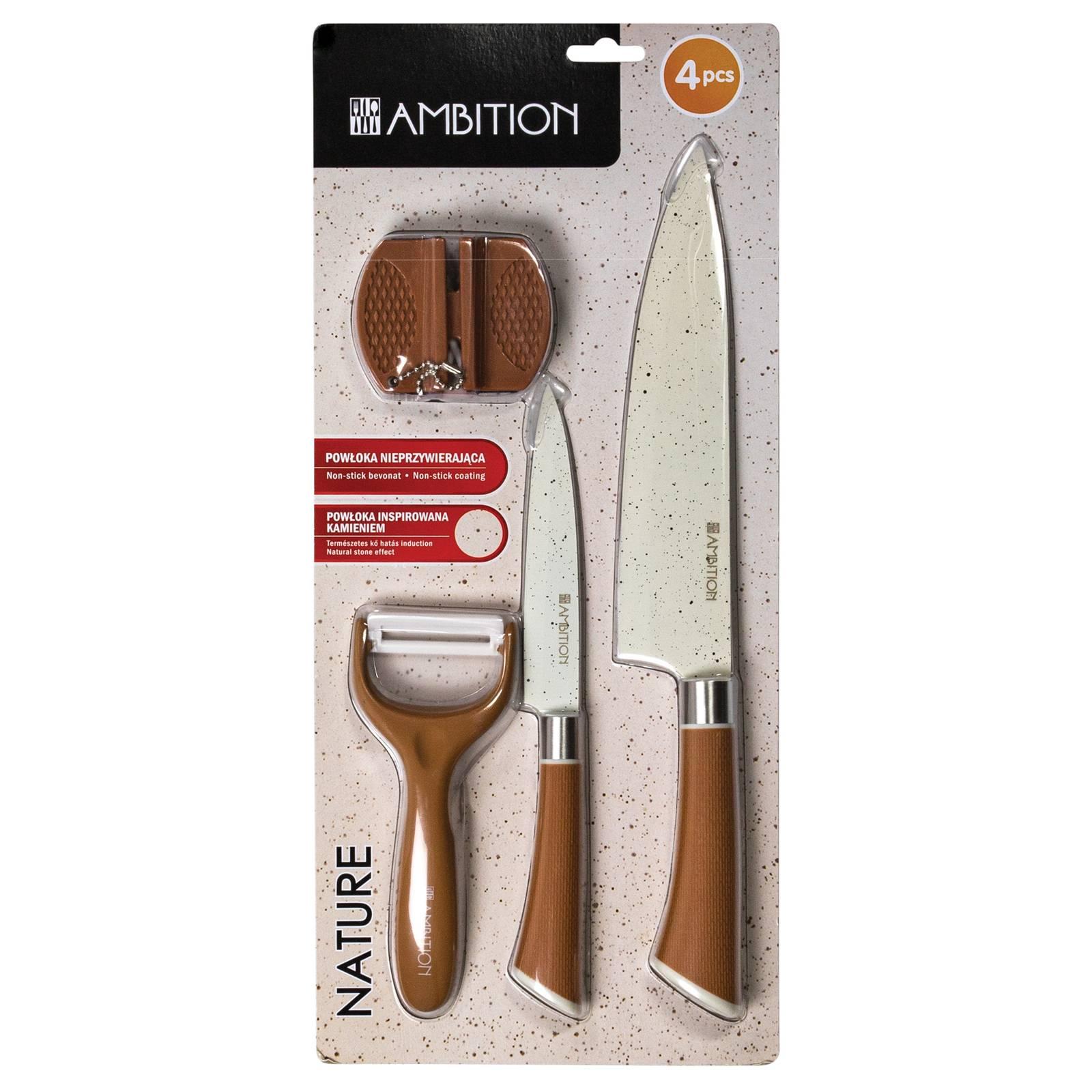 Sada nožů s bruskou a škrabkou Nature 4-díly AMBITION