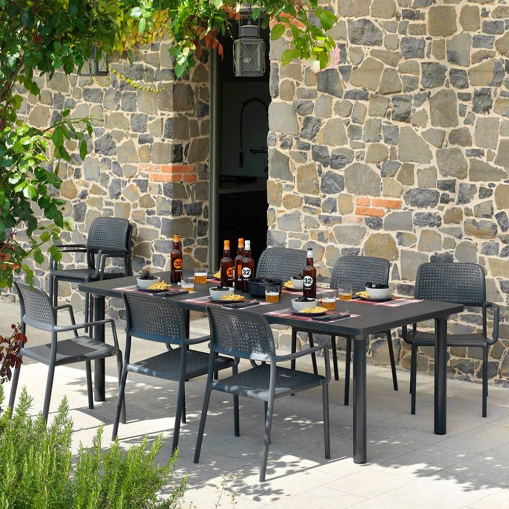 Stół rozkładany Libeccio Antracite 100 x 160/220 x 74 cm NARDI