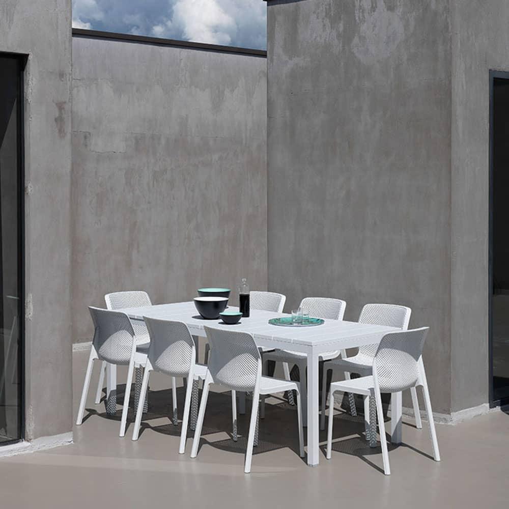 Stół ogrodowy rozkładany Rio Bianco 100 x 210 / 280 x 76 cm NARDI