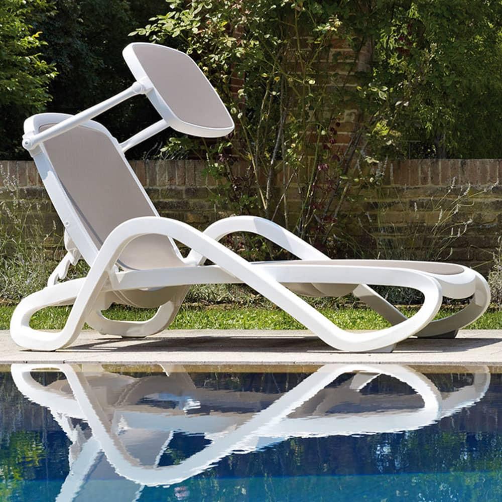 Leżak ogrodowy / basenowy Alfa Bianco / Tortora z daszkiem NARDI