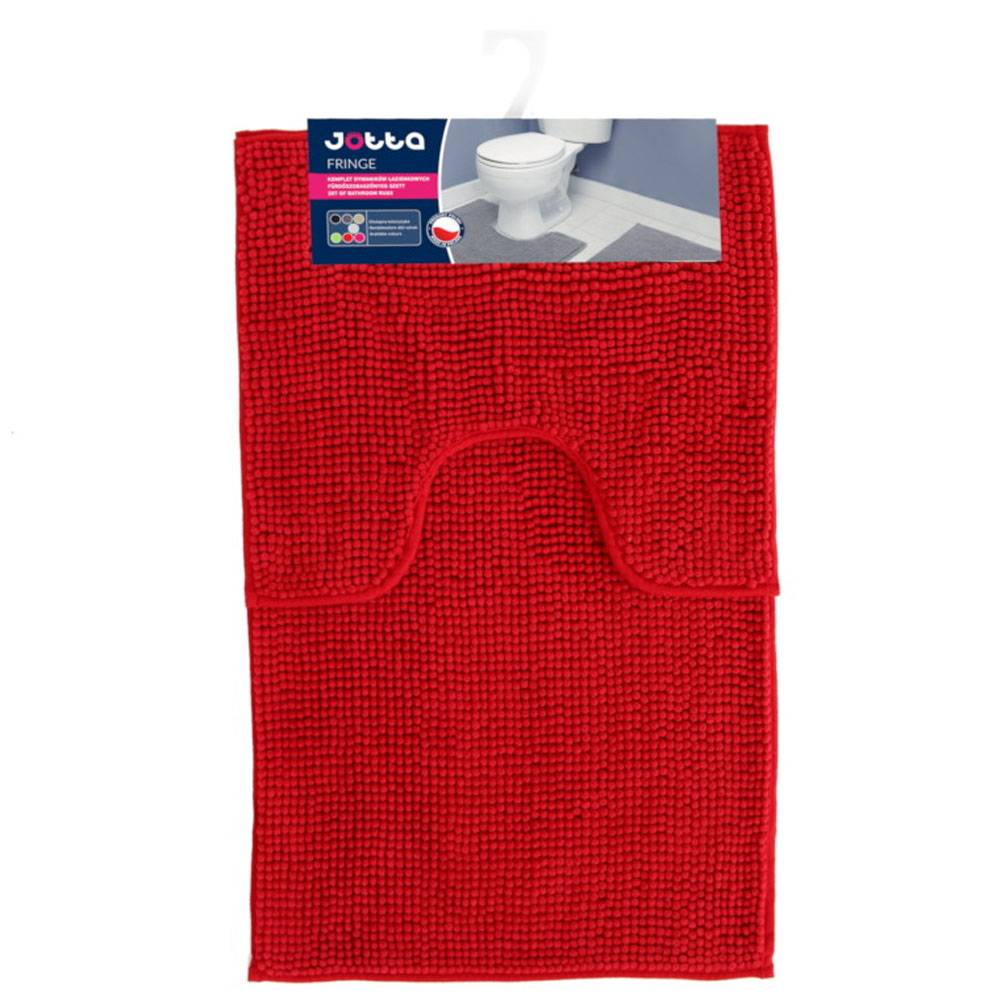 Komplet 2 dywaników łazienkowych Fringe 50x45 cm, 50x80 cm czerwony Jotta