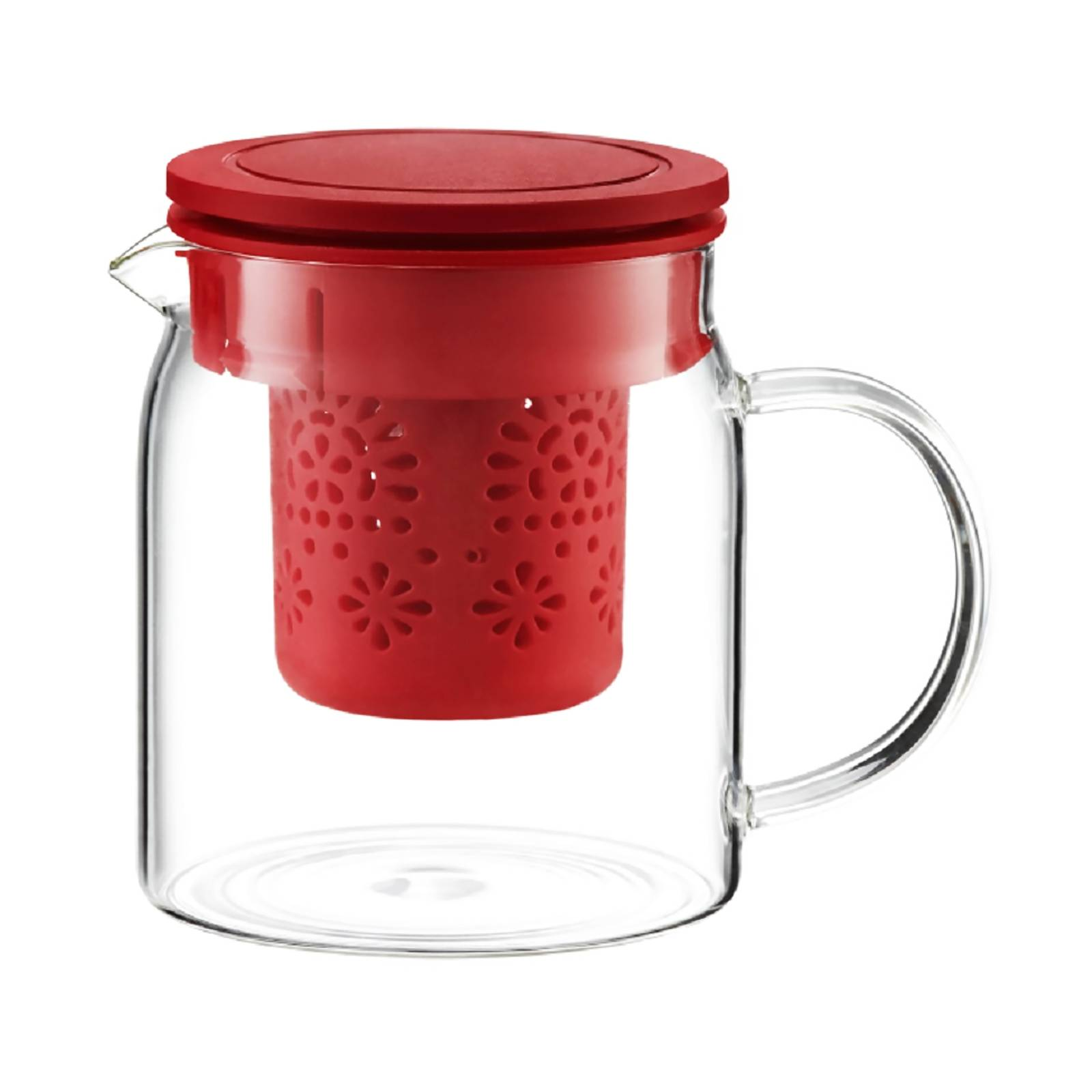 Krug Subtele mit Teesieb und Deckel rot  800 ml  AMBITION