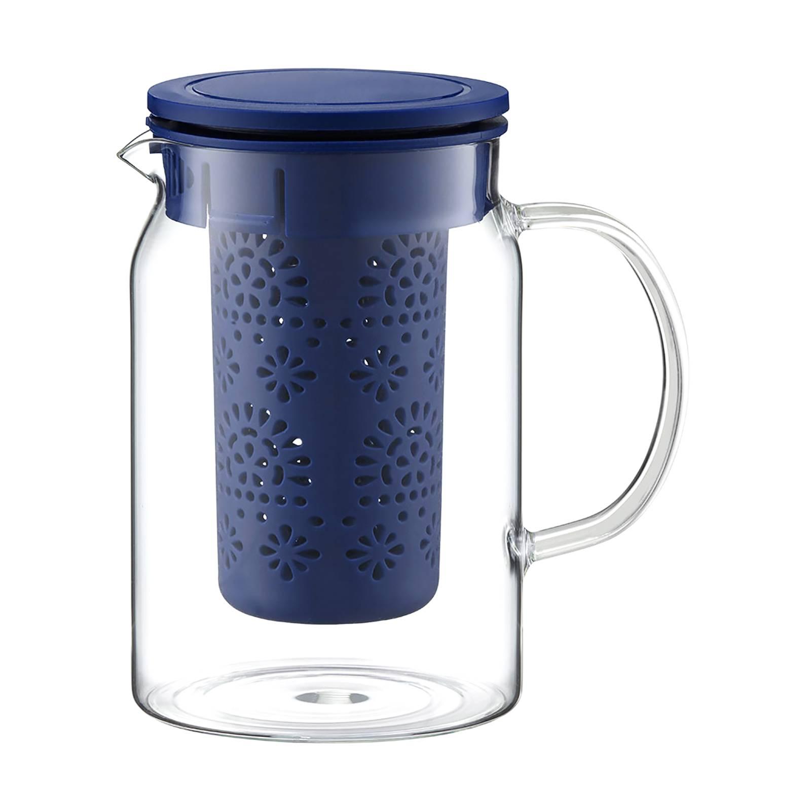 Krug Subtele mit Teesieb und Deckel marineblau 1000 ml AMBITION