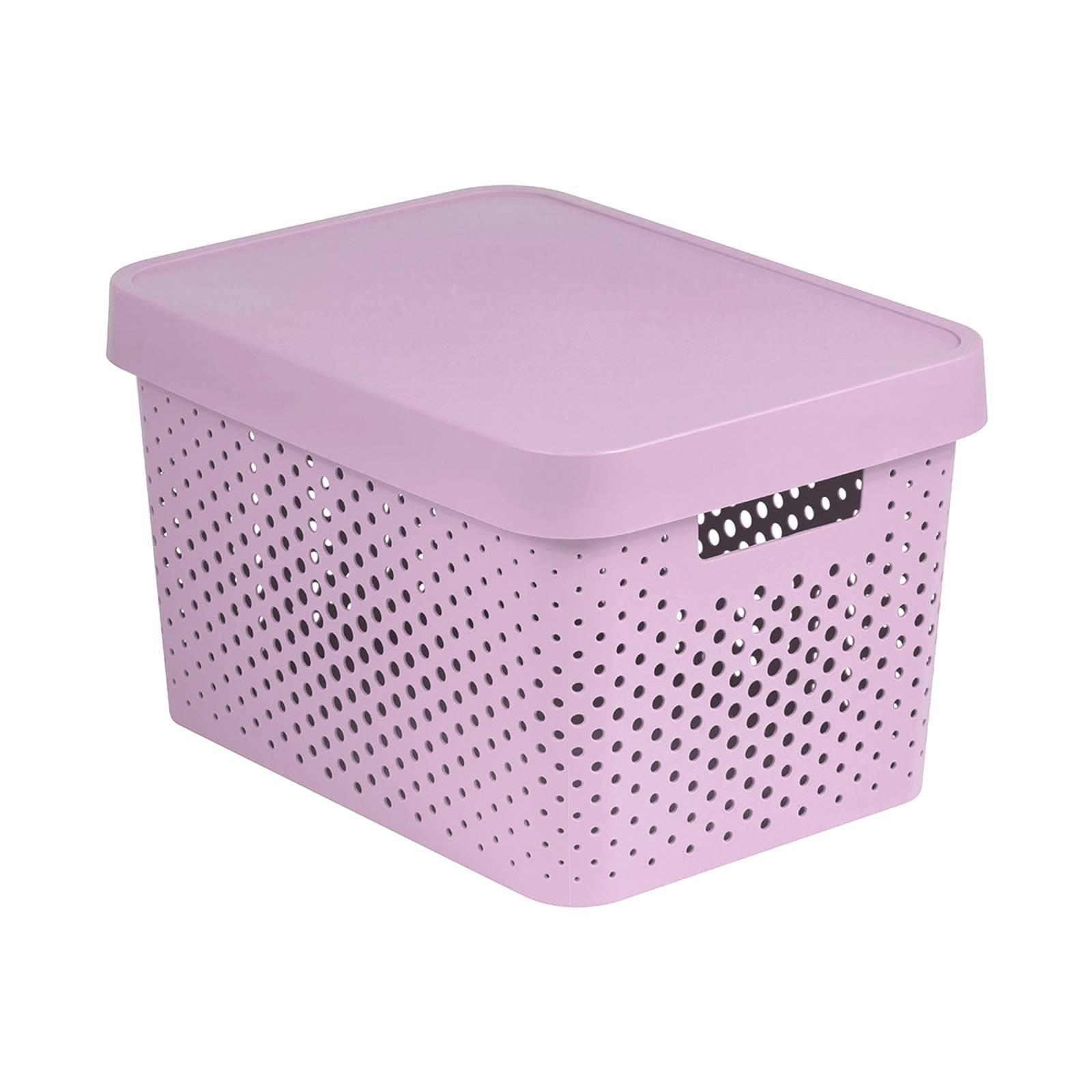 Förvaringslåda med lock genomskinnlig 17 L Infinity rosa CURVER