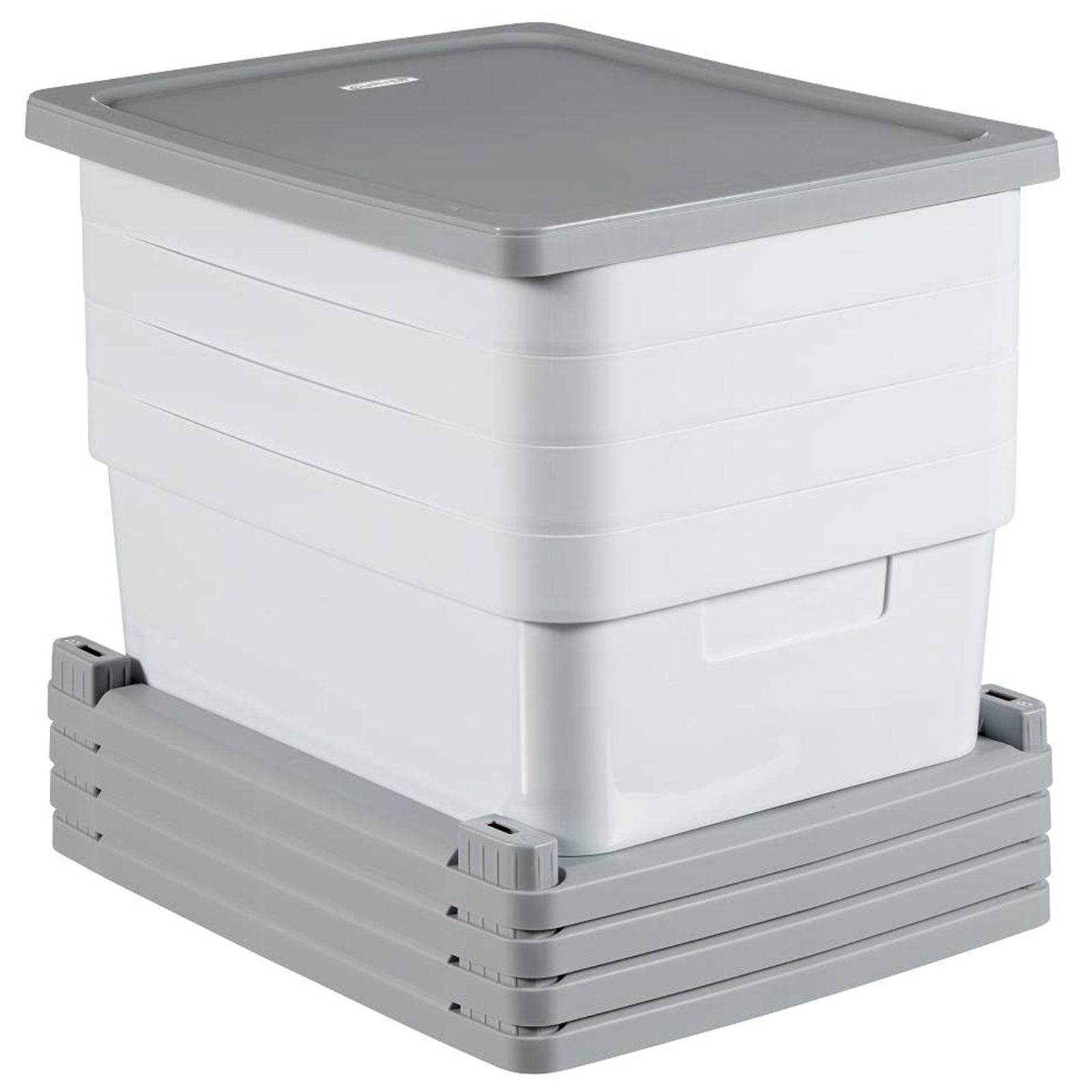 Hylla med 4 lådor Infinity 30 x 36 x 69 cm grå-vit CURVER