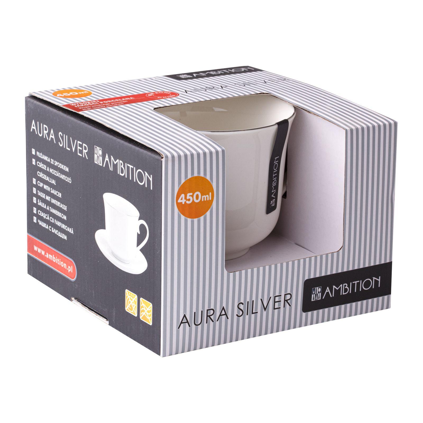 Tasse mit Untertasse Aura Silver 450 ml AMBITION