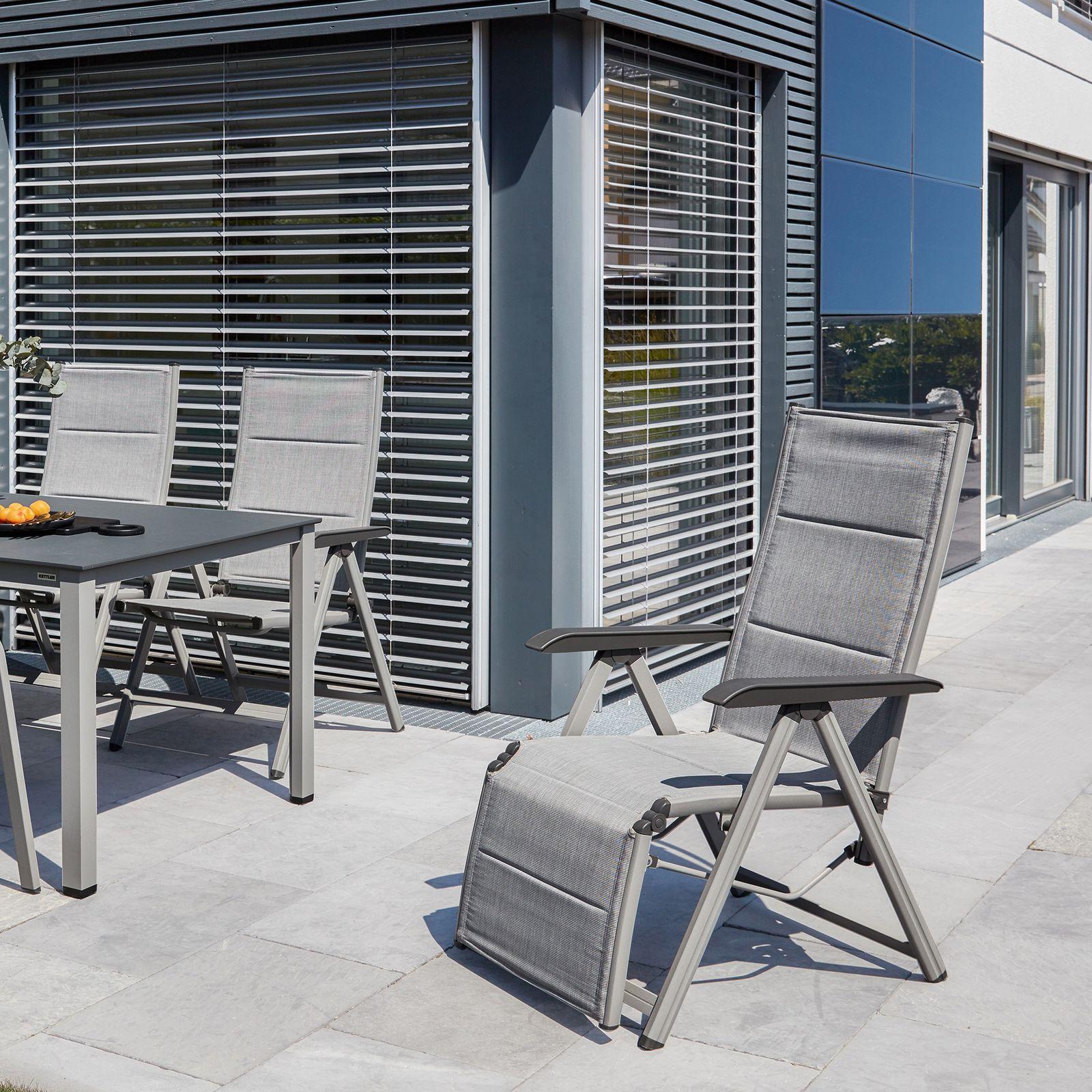 Fotel z podnóżkiem Basic Plus Padded srebrny KETTLER
