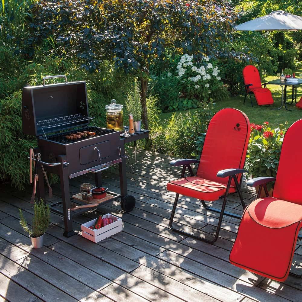 Barbecue avec plaque à carbone réglable 114,5 x 60 x 108 cm PATIO