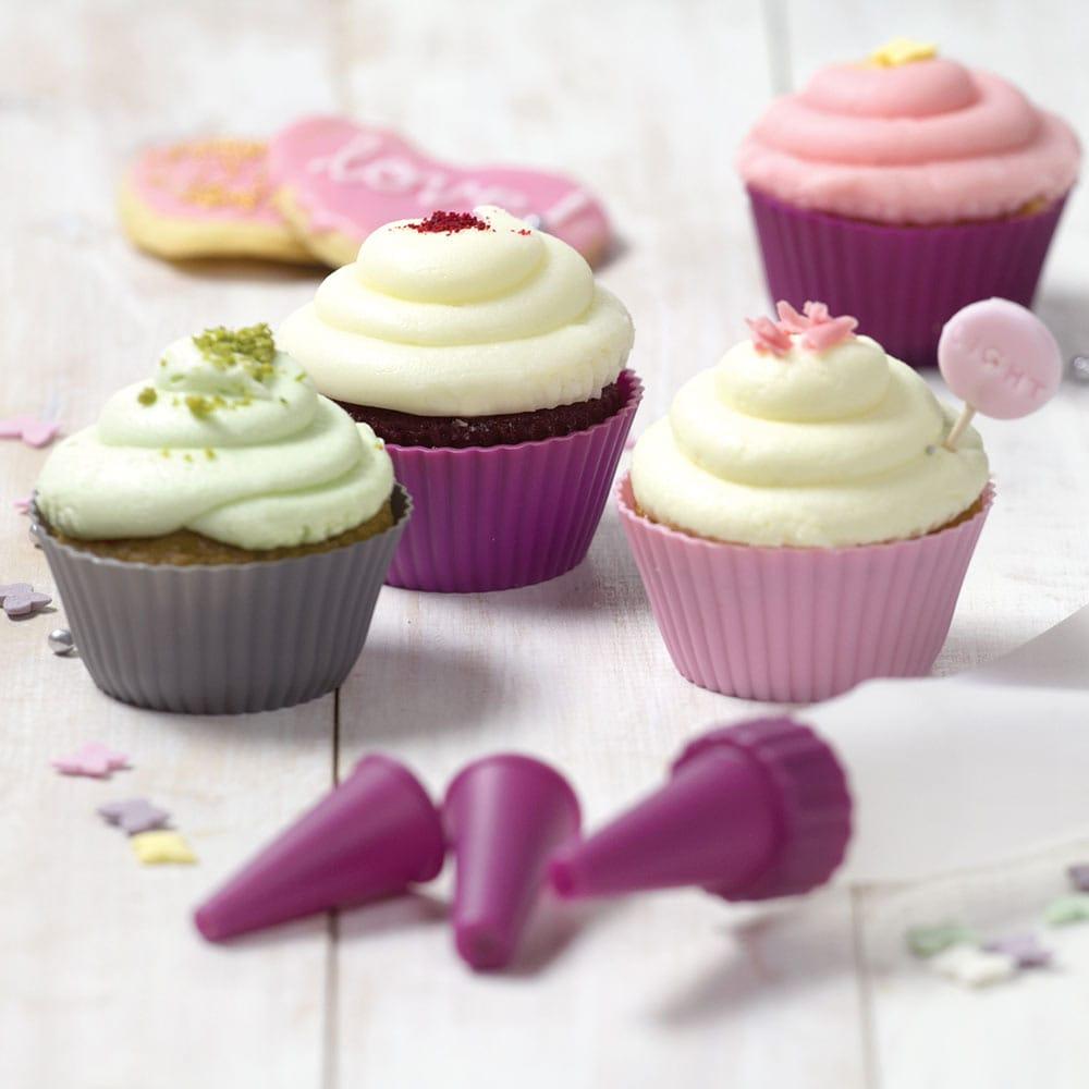 Set de 6 moules à muffins Glamour gris-rose AMBITION