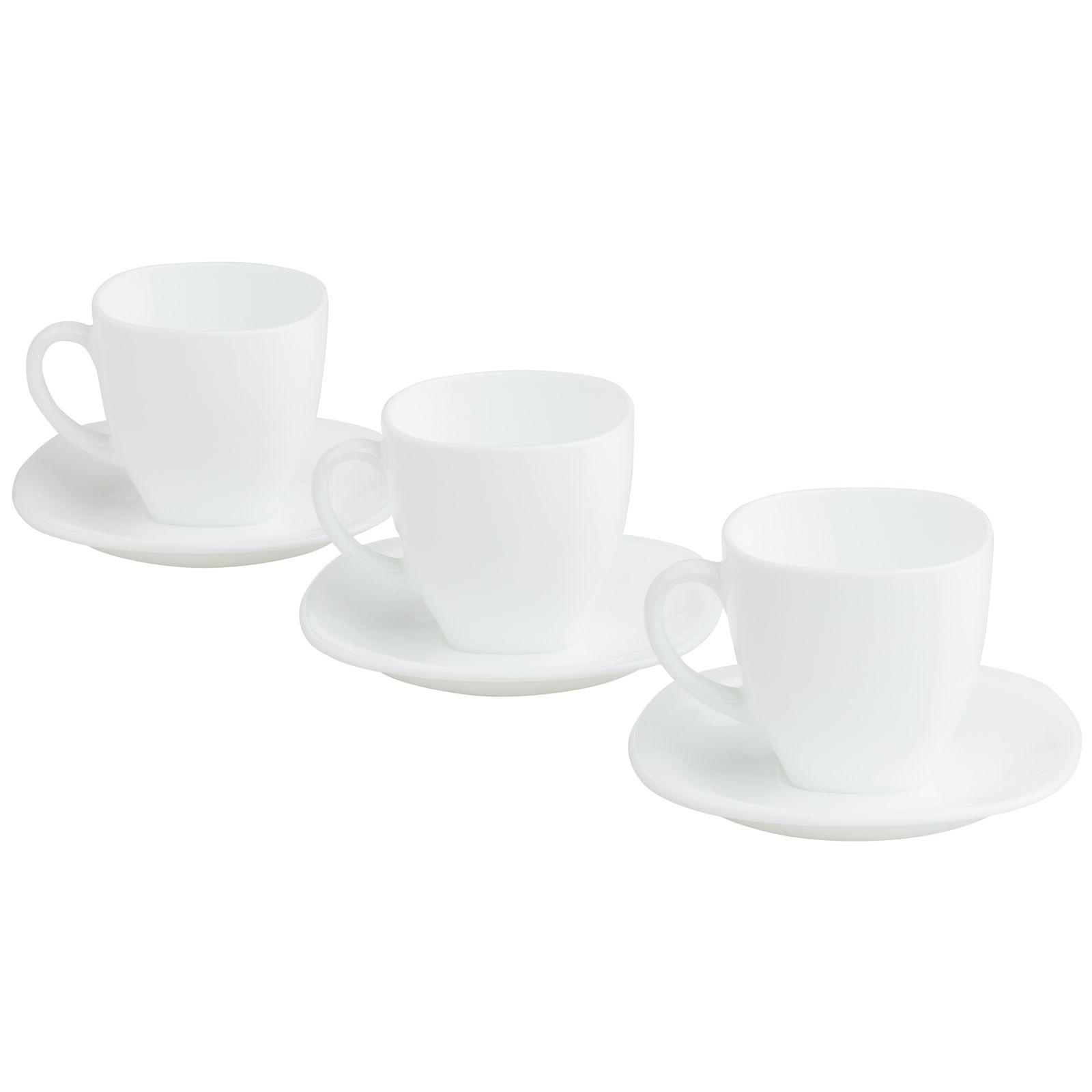 Komplet obiadowo-kawowy Harena 38-elementowy biało-czarny LUMINARC