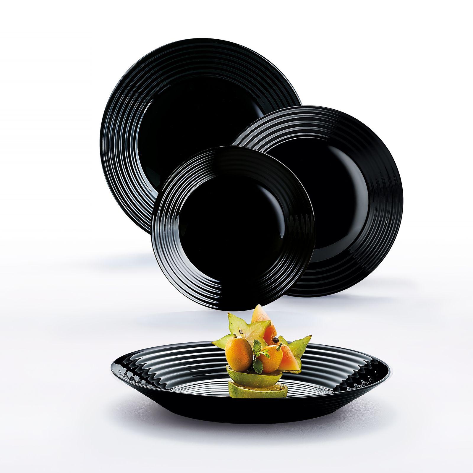 Komplet obiadowy Harena 19-elementowy czarny LUMINARC (salaterka 27 cm)