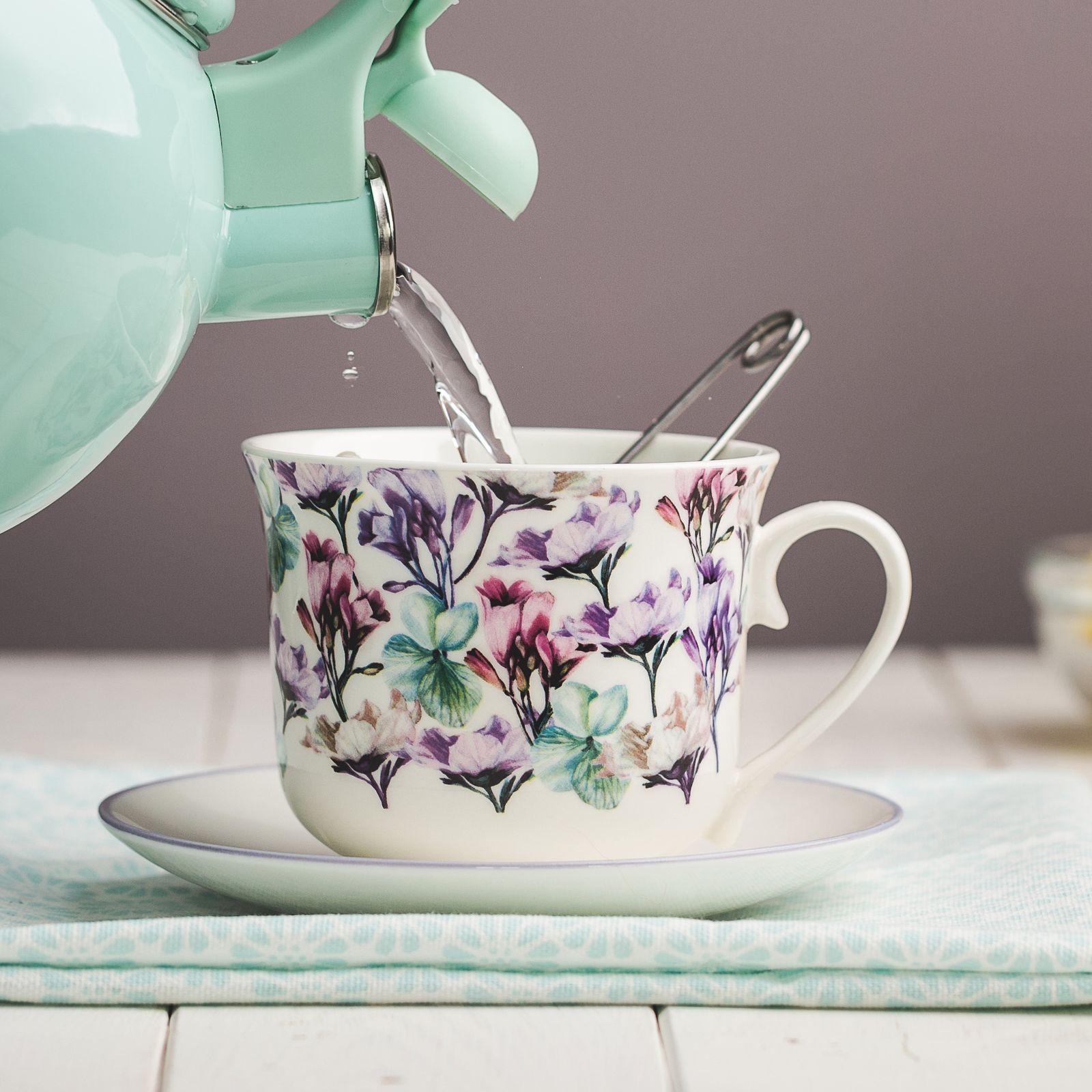 Tasse avec sous-tasse Garden 45 cl fleurs AMBITION