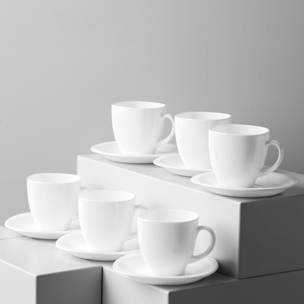 Komplet kawowy Carine White 220 ml 12-elementowy LUMINARC