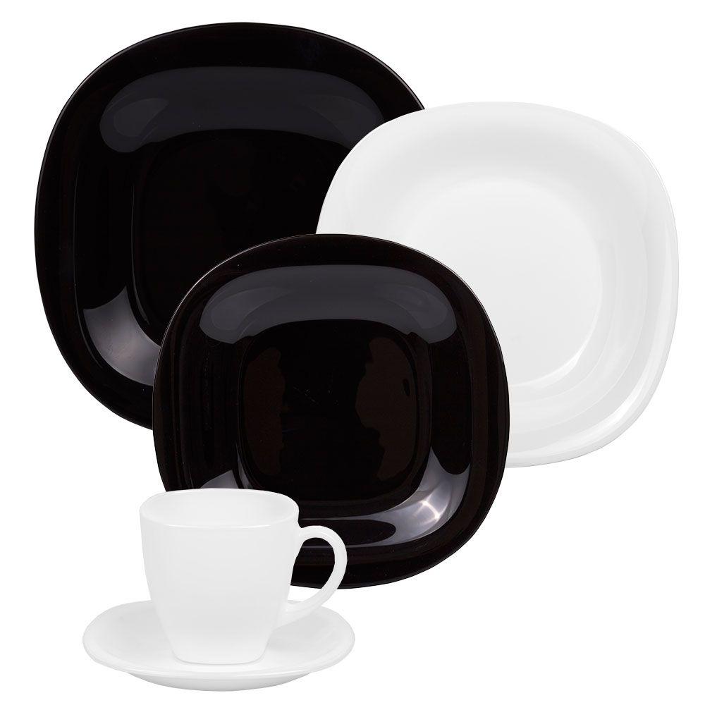 Komplet obiadowo-kawowy Carine Neo White & Black 30-elementowy LUMINARC