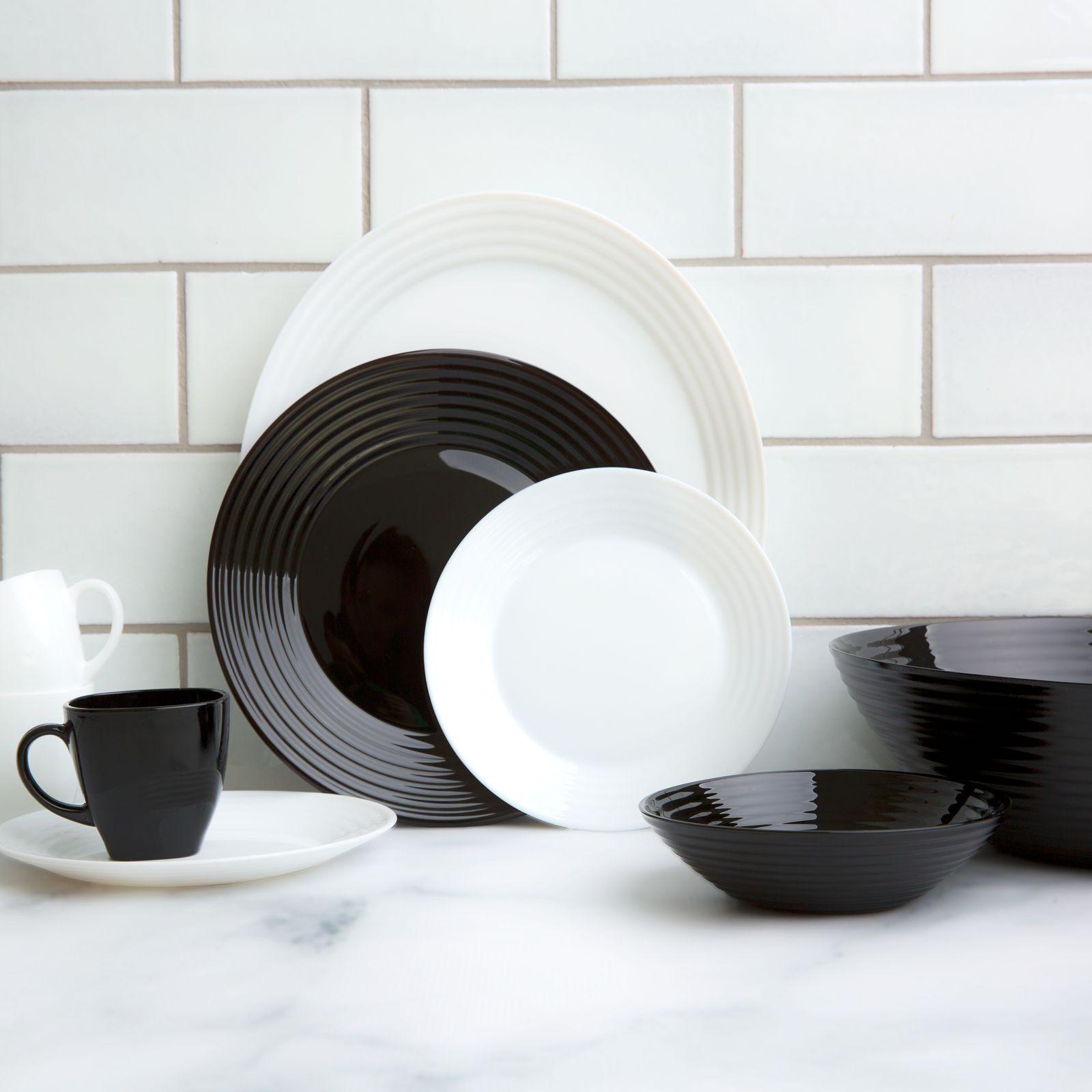 Service de table Harena 38-pièces noir&blanc LUMINARC