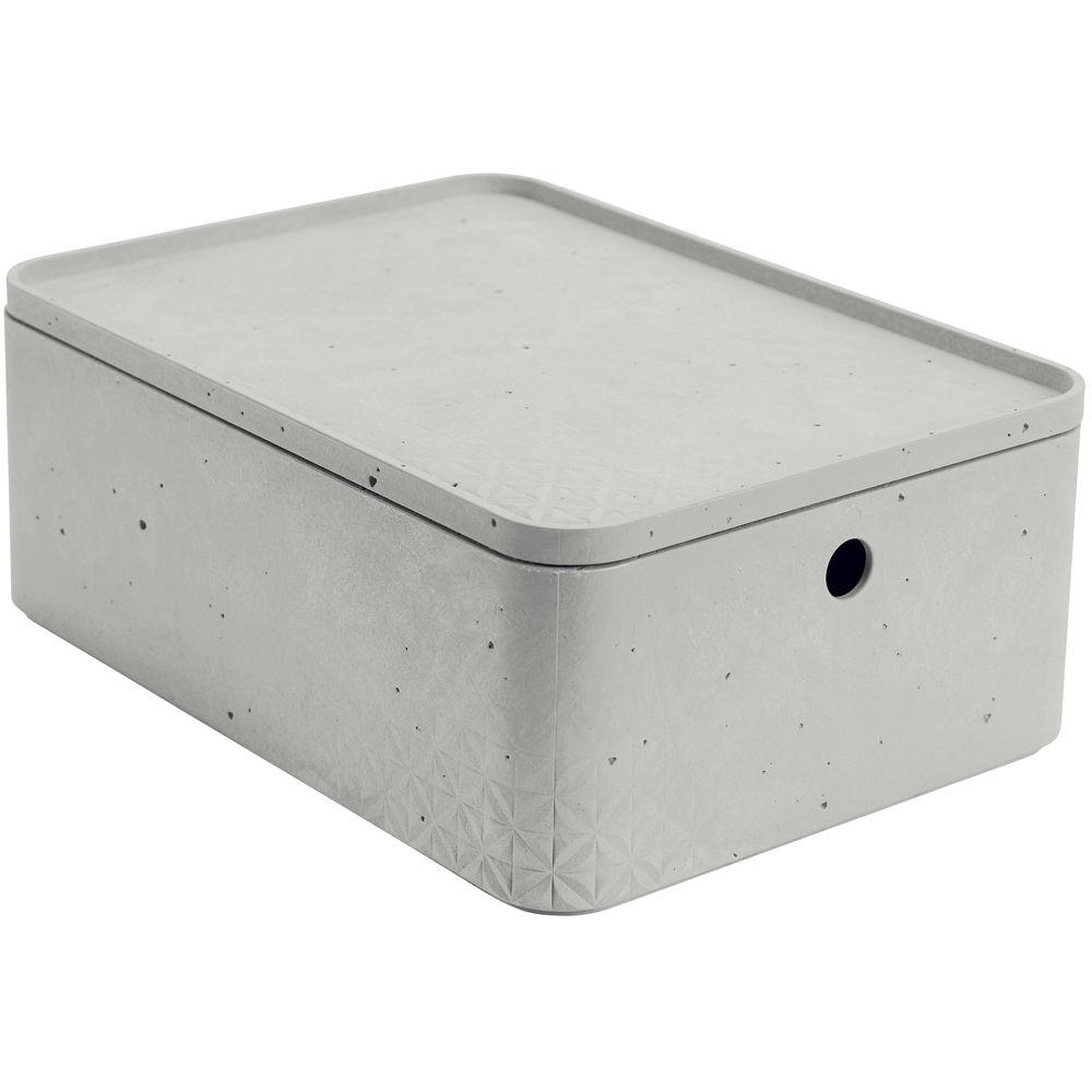 Caja rectangular con tapa 8 l Beton gris claro CURVER