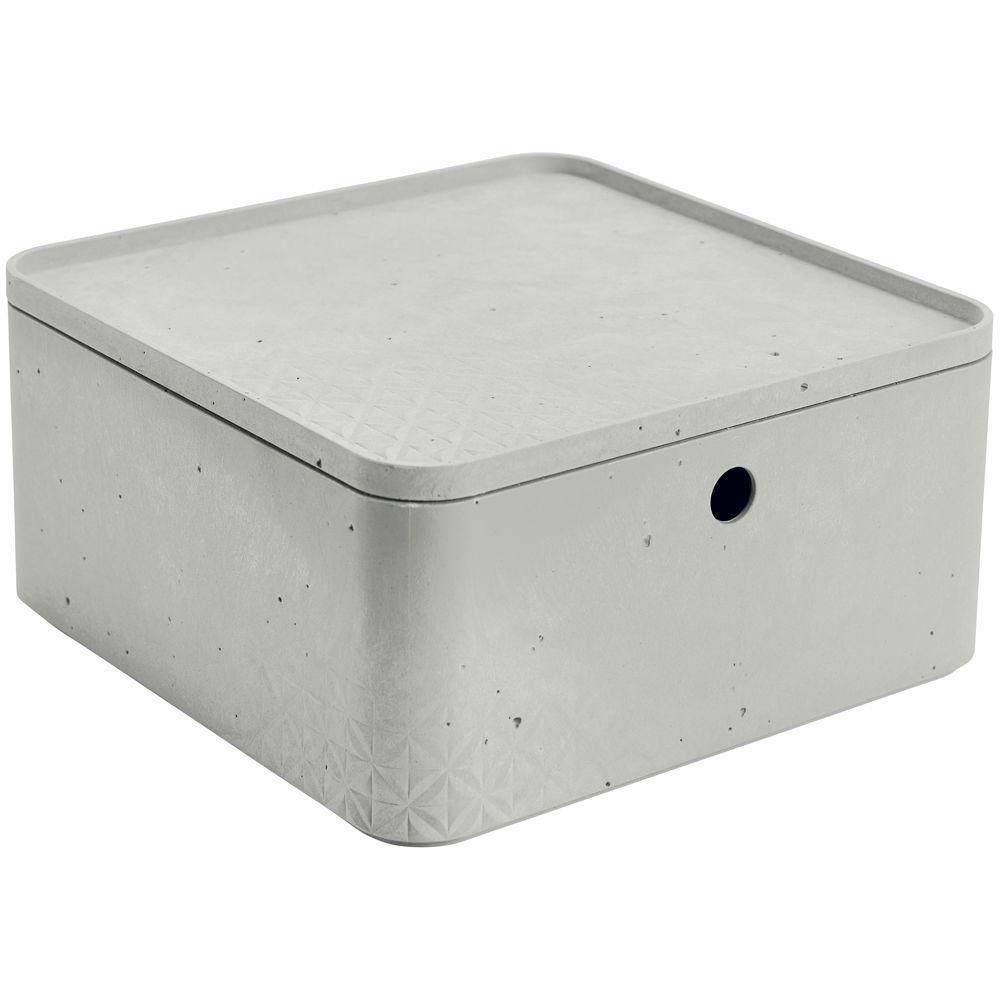 Caja cuadrada con tapa 8,5 l Beton gris claro CURVER