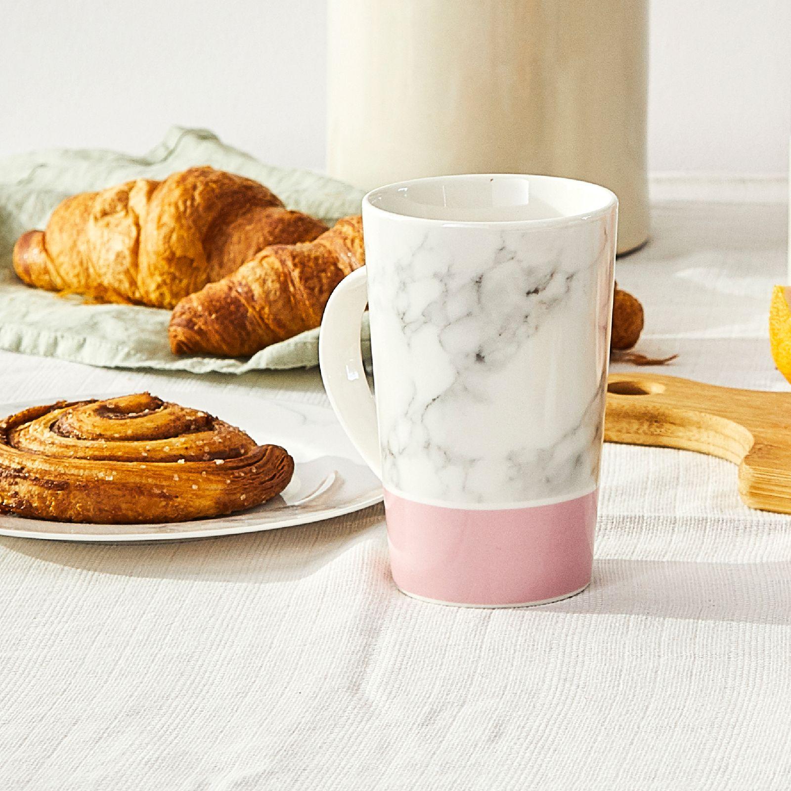 Mug en porcelaine Marble pink 43 cl AMBITION