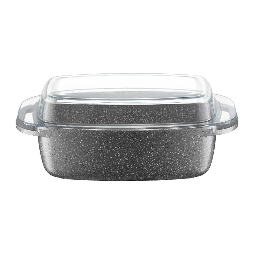 Roaster Silverstone with glass lid 32 x 21 cm AMBITION